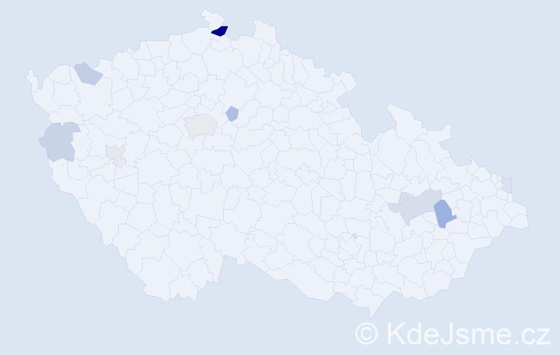 Příjmení: 'Badík', počet výskytů 20 v celé ČR