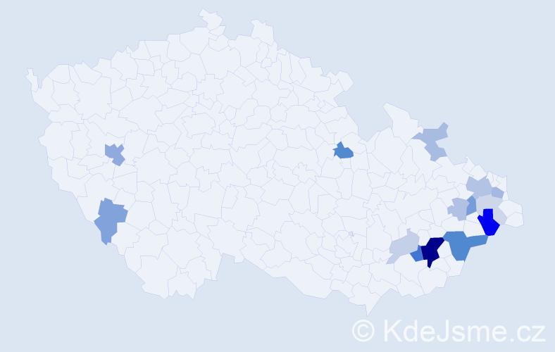 Příjmení: 'Lambor', počet výskytů 43 v celé ČR