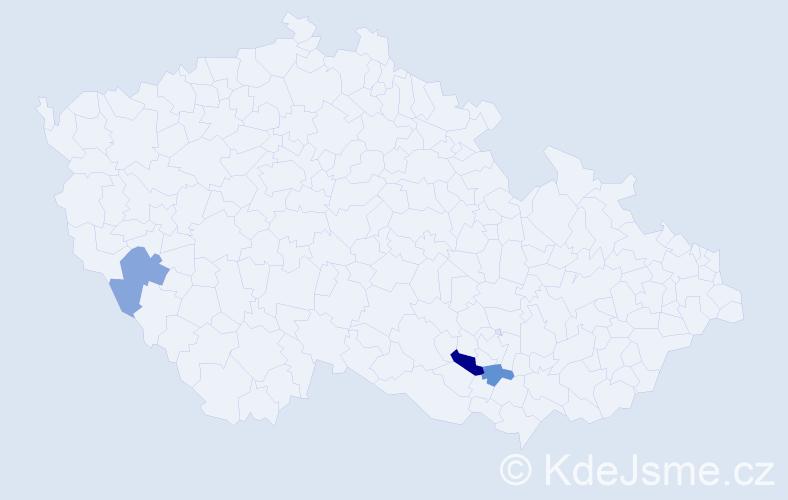 Příjmení: 'Derfiňák', počet výskytů 4 v celé ČR