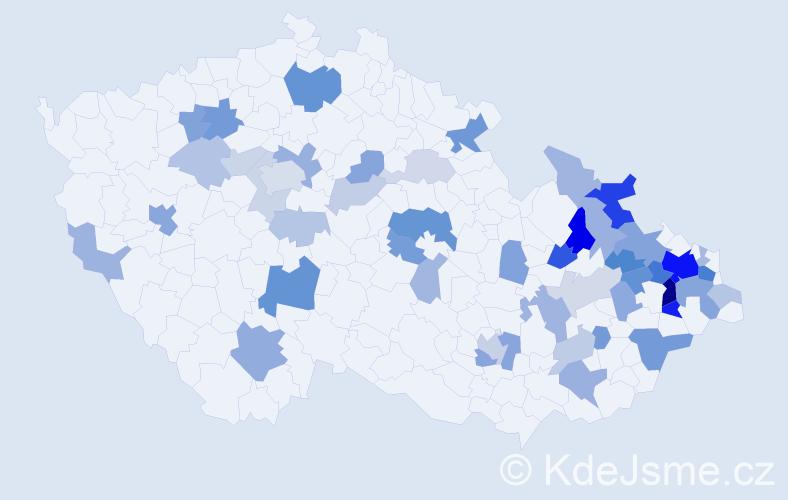 Příjmení: 'Horkelová', počet výskytů 117 v celé ČR