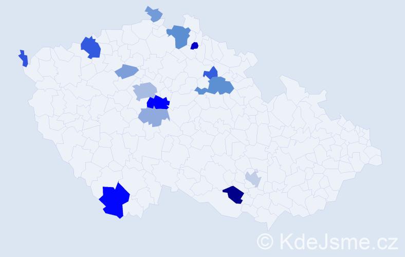 Příjmení: 'Kniha', počet výskytů 38 v celé ČR