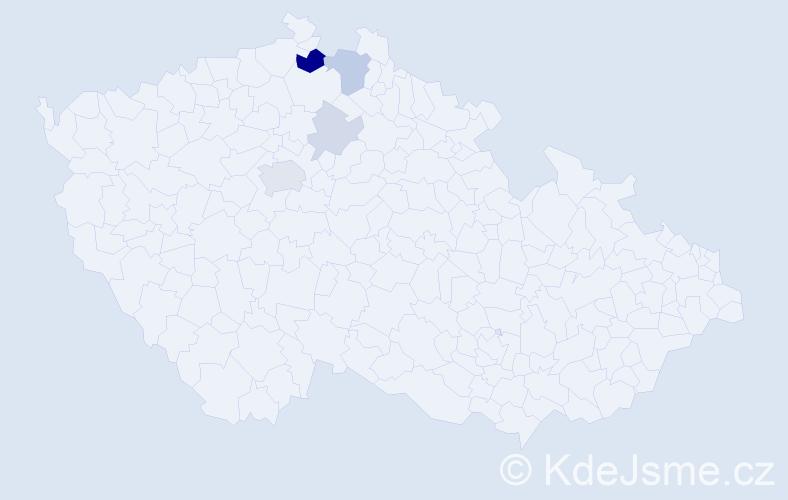 Příjmení: 'Čangel', počet výskytů 12 v celé ČR