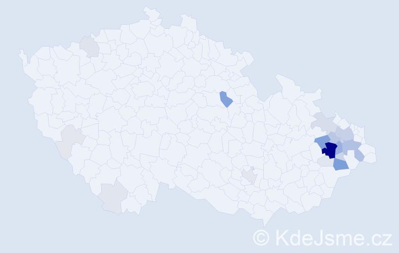 Příjmení: 'Horutová', počet výskytů 86 v celé ČR