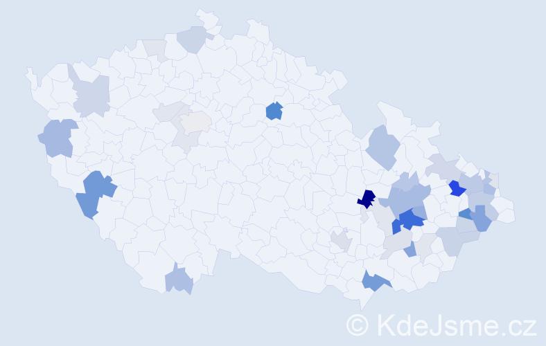 Příjmení: 'Kalman', počet výskytů 103 v celé ČR