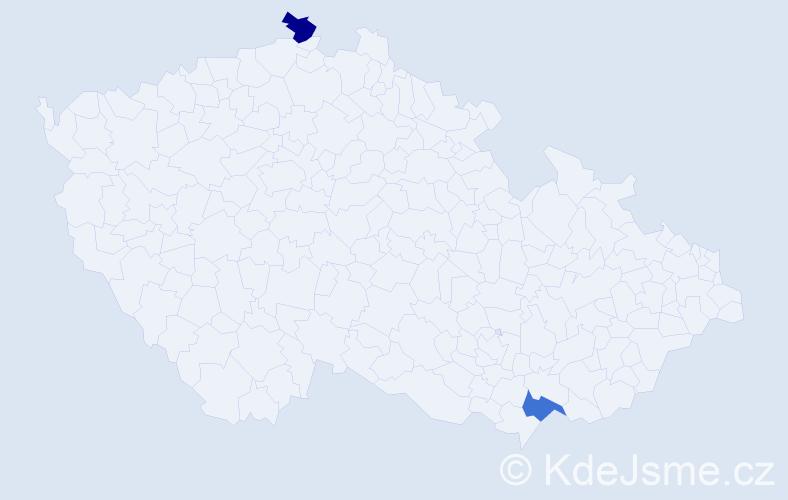 Příjmení: 'Černůšek', počet výskytů 2 v celé ČR