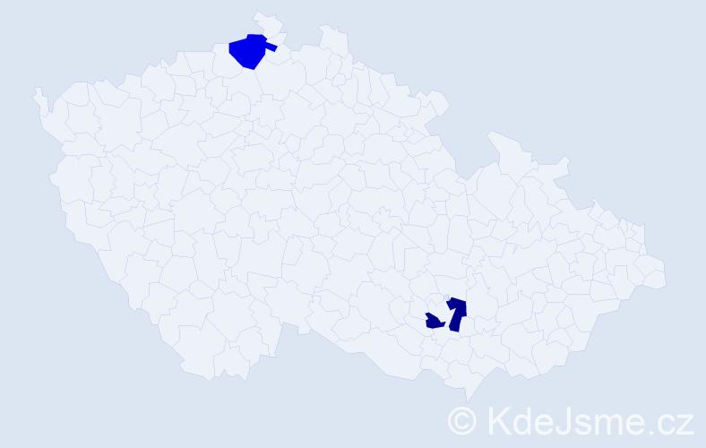 Příjmení: 'Ebeling', počet výskytů 2 v celé ČR