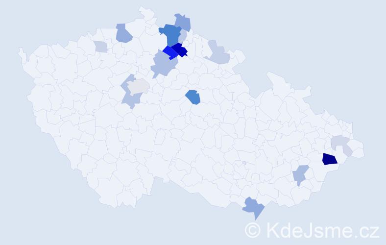 Příjmení: 'Knébl', počet výskytů 43 v celé ČR