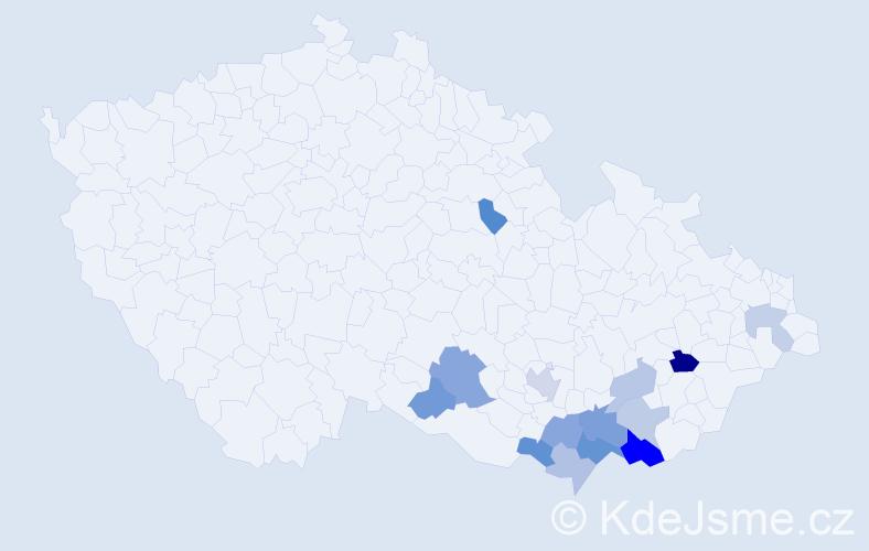 Příjmení: 'Kolesík', počet výskytů 23 v celé ČR