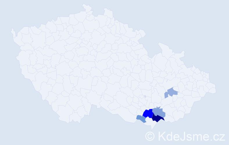 Příjmení: 'Holomáčová', počet výskytů 18 v celé ČR