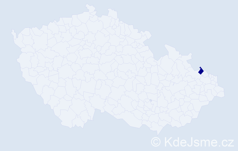 """Příjmení: '""""Chlebusová Kandráčová""""', počet výskytů 1 v celé ČR"""