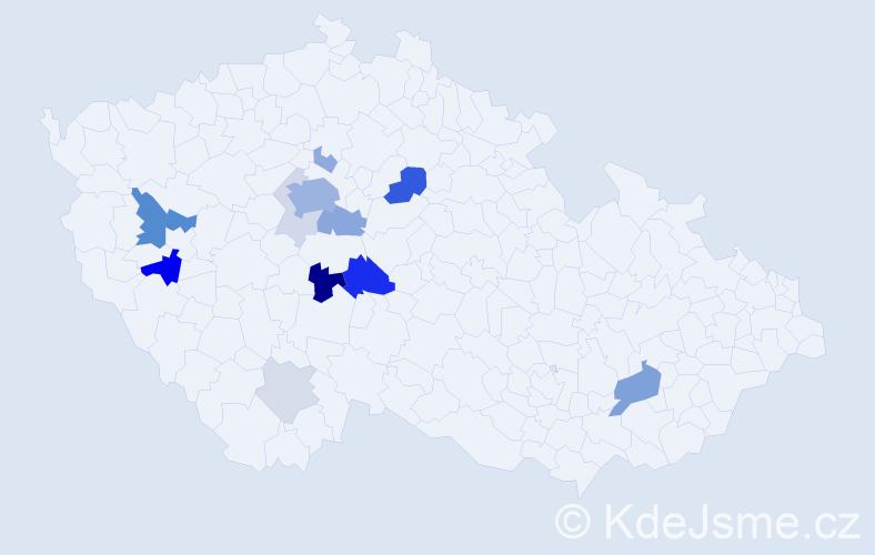 Příjmení: 'Bébr', počet výskytů 42 v celé ČR