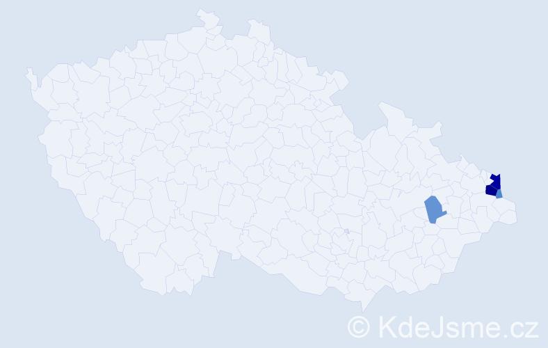 Příjmení: 'Gruščíková', počet výskytů 13 v celé ČR
