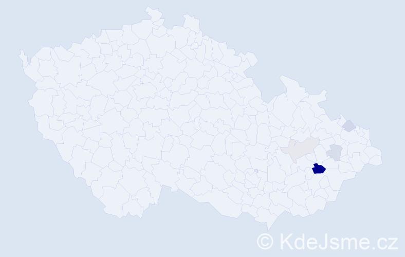 Příjmení: 'Grentková', počet výskytů 9 v celé ČR