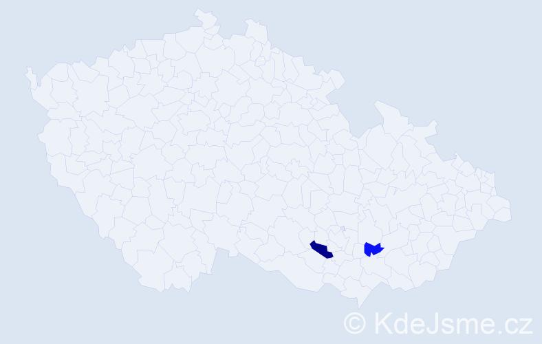 Příjmení: 'Karač', počet výskytů 3 v celé ČR