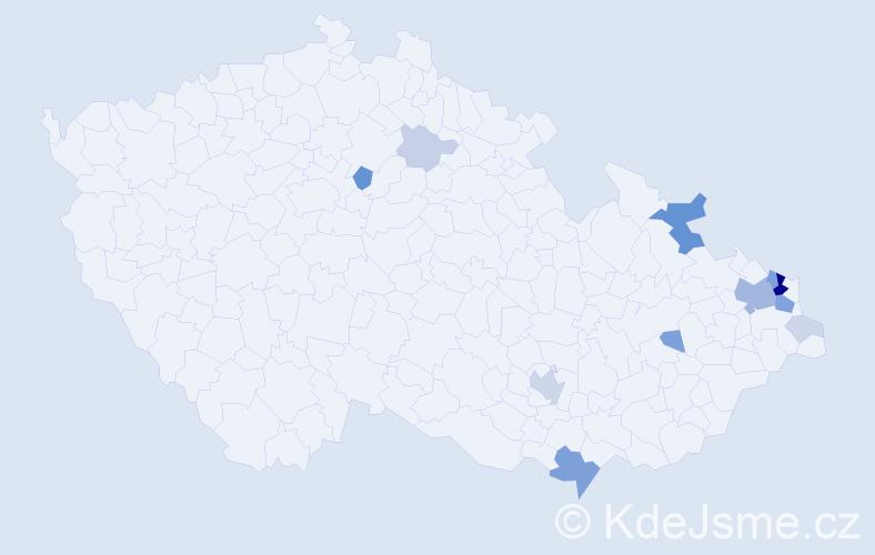Příjmení: 'Damec', počet výskytů 43 v celé ČR