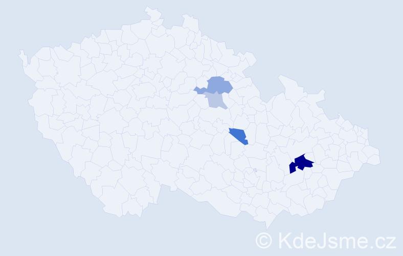 Příjmení: 'Déduch', počet výskytů 11 v celé ČR