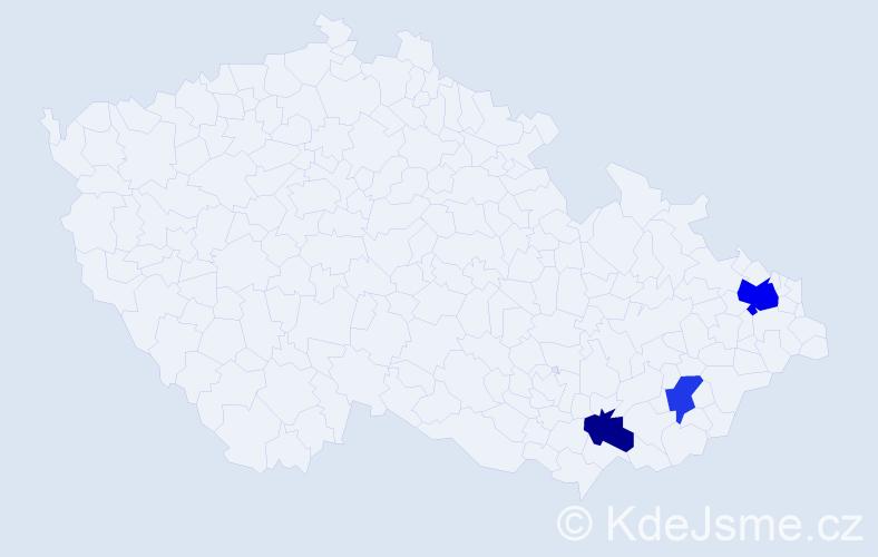 Příjmení: 'Ďaďan', počet výskytů 5 v celé ČR