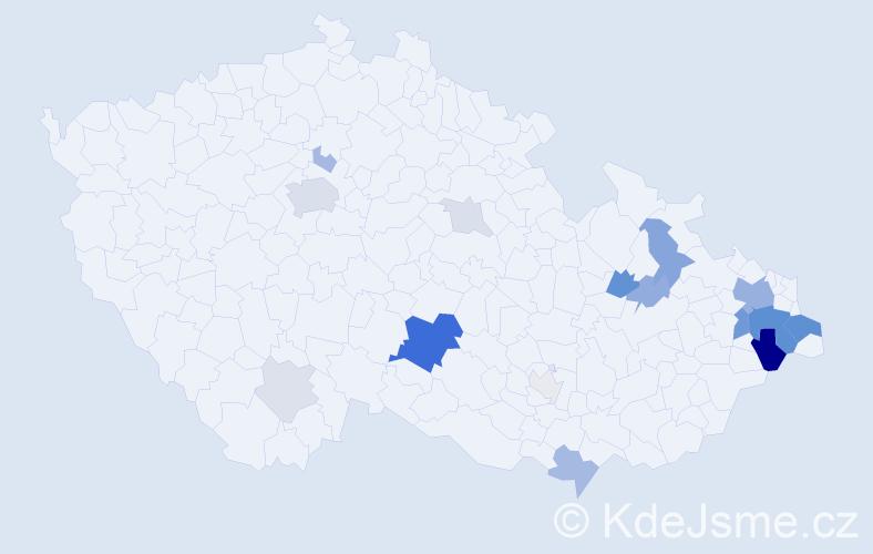Příjmení: 'Bužgová', počet výskytů 57 v celé ČR