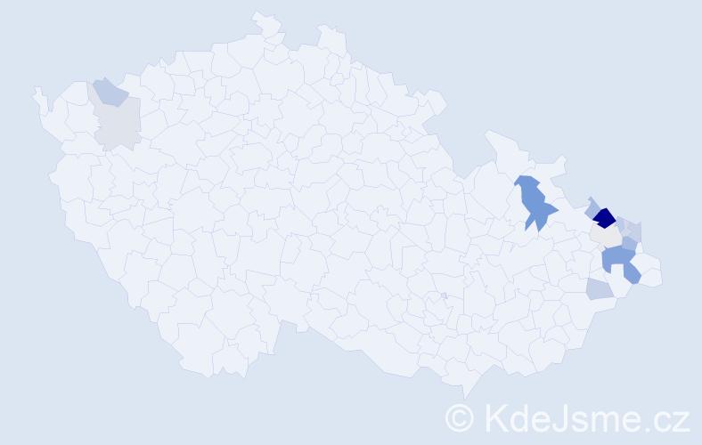 Příjmení: 'Čurajová', počet výskytů 37 v celé ČR