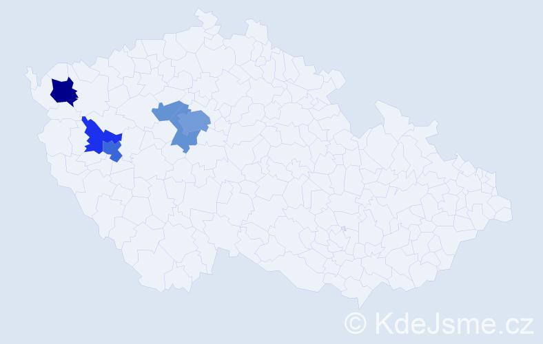 Příjmení: 'Dogner', počet výskytů 13 v celé ČR