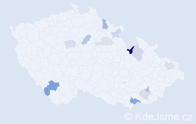 Příjmení: 'Bederková', počet výskytů 24 v celé ČR