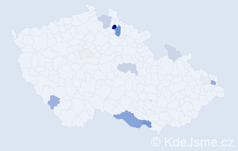 Příjmení: 'Komada', počet výskytů 31 v celé ČR