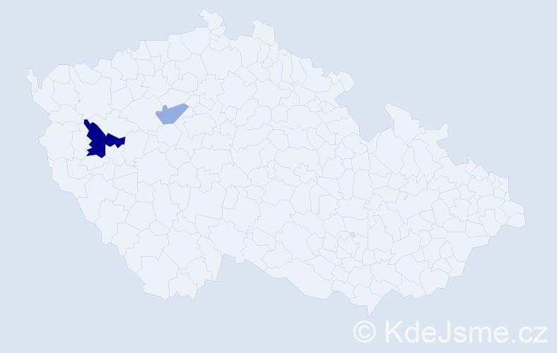 Příjmení: 'Kehlová', počet výskytů 4 v celé ČR