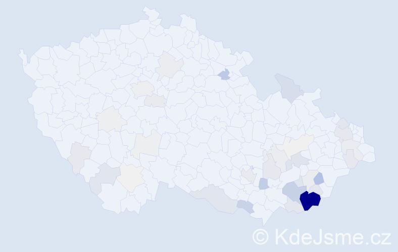 Příjmení: 'Kočica', počet výskytů 195 v celé ČR