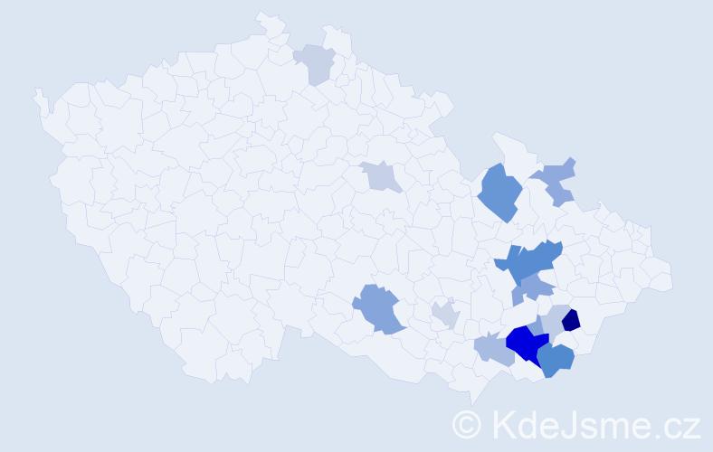 Příjmení: 'Bednářík', počet výskytů 34 v celé ČR