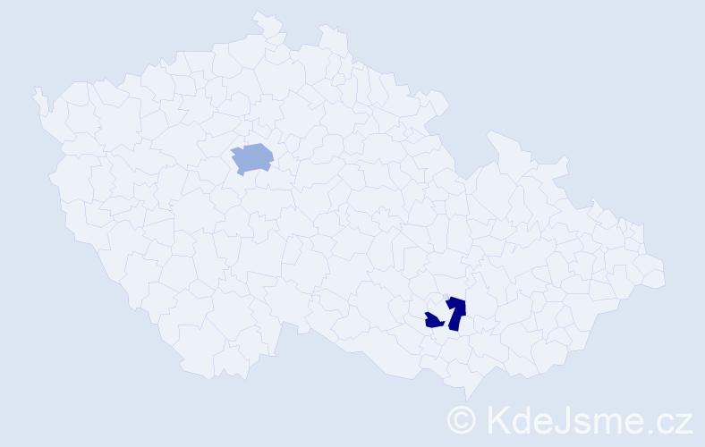 Příjmení: 'Ayala', počet výskytů 3 v celé ČR