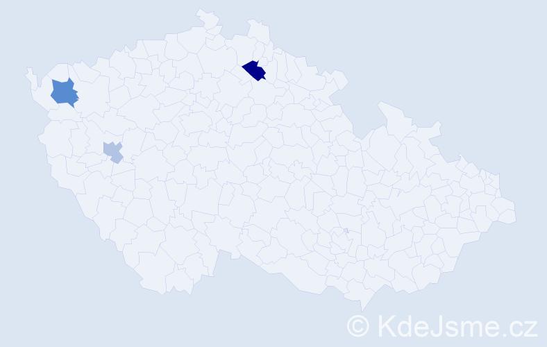 Příjmení: 'Klobusová', počet výskytů 5 v celé ČR