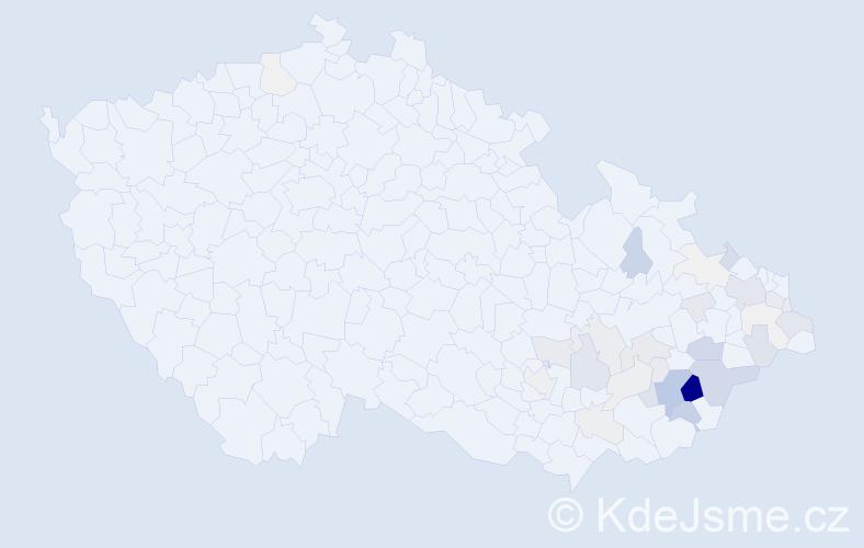 Příjmení: 'Čala', počet výskytů 135 v celé ČR