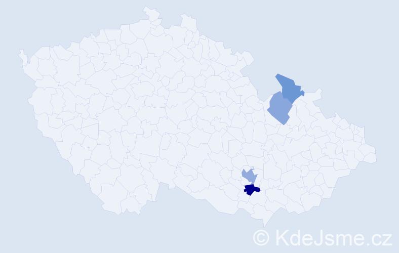 Příjmení: 'Knozová', počet výskytů 7 v celé ČR