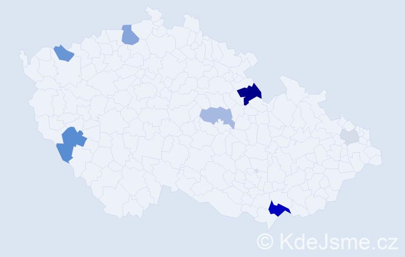 Příjmení: 'Gálus', počet výskytů 15 v celé ČR