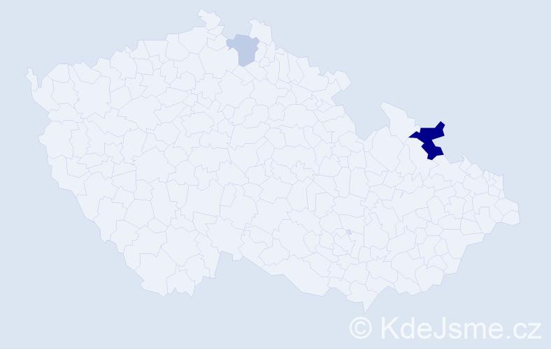 Příjmení: 'Kolárovčeková', počet výskytů 5 v celé ČR