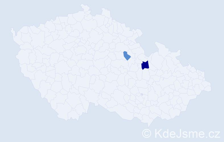 Příjmení: 'Injajevová', počet výskytů 4 v celé ČR