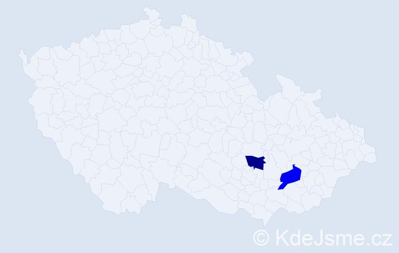 Příjmení: 'Kullašová', počet výskytů 2 v celé ČR