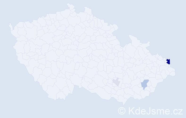 Příjmení: 'Kaháková', počet výskytů 9 v celé ČR