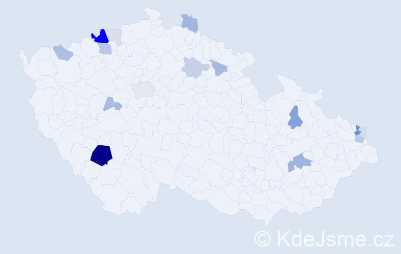 Příjmení: 'Demetr', počet výskytů 42 v celé ČR