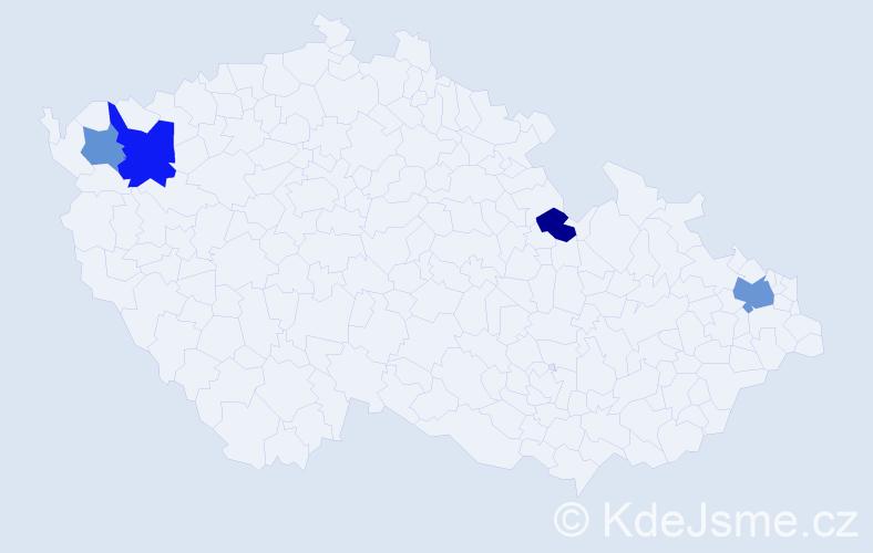 Příjmení: 'Čižnárová', počet výskytů 13 v celé ČR