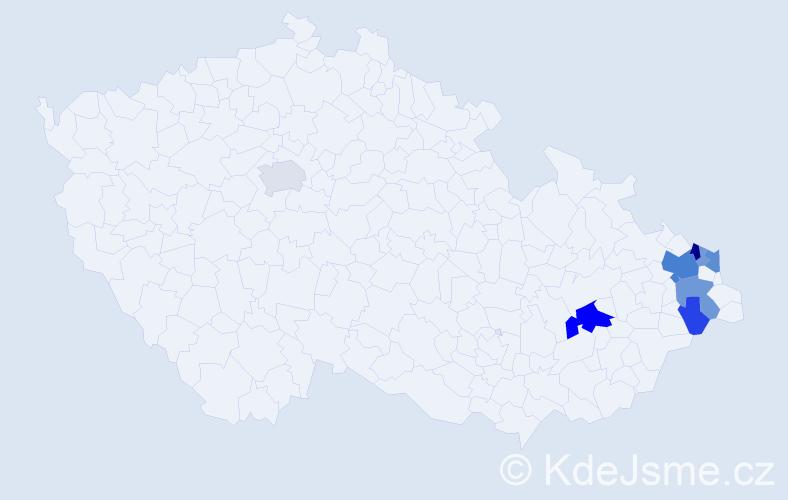 Příjmení: 'Botor', počet výskytů 21 v celé ČR