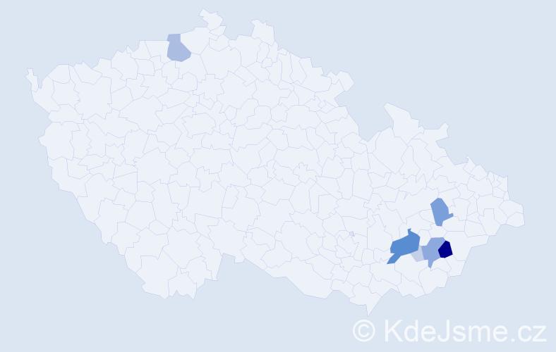 Příjmení: 'Bochezová', počet výskytů 27 v celé ČR