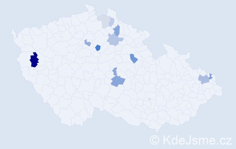 Příjmení: 'Endová', počet výskytů 20 v celé ČR