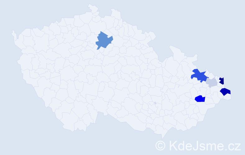 Příjmení: 'Kormanec', počet výskytů 15 v celé ČR
