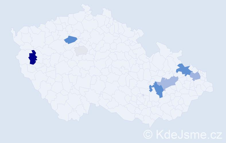Příjmení: 'Jadroňová', počet výskytů 10 v celé ČR