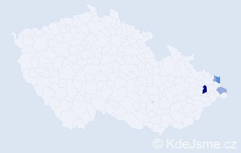 Příjmení: 'Krysa', počet výskytů 9 v celé ČR