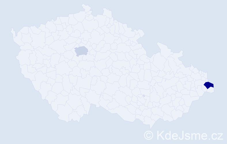 Příjmení: 'Jerák', počet výskytů 2 v celé ČR