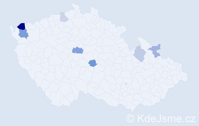 Příjmení: 'Jurcsiková', počet výskytů 11 v celé ČR