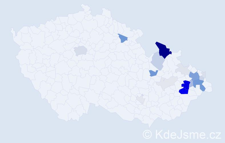 Příjmení: 'Furmánek', počet výskytů 90 v celé ČR