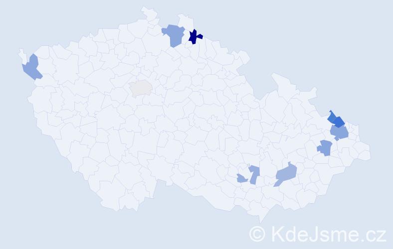 Příjmení: 'Garčárová', počet výskytů 16 v celé ČR